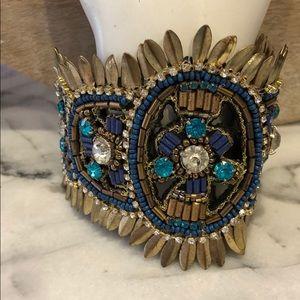 Gold & Blue Boho Beaded Cuff Bracelet,NWT